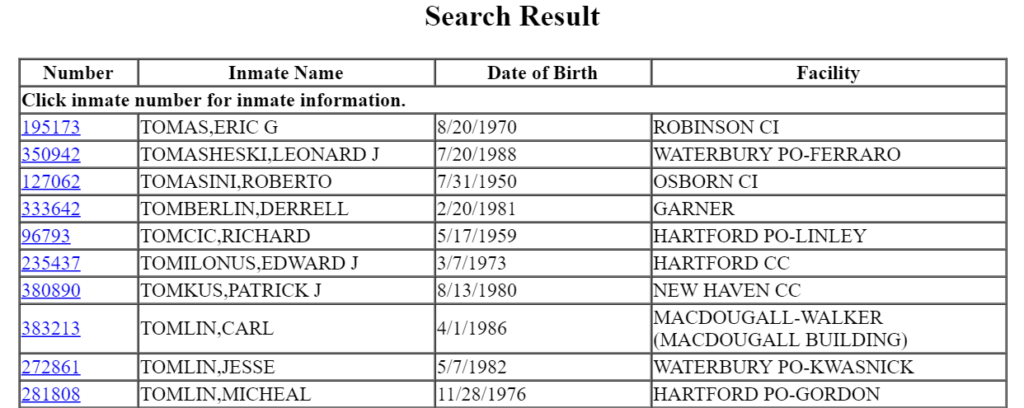 Connecticut inmate search results