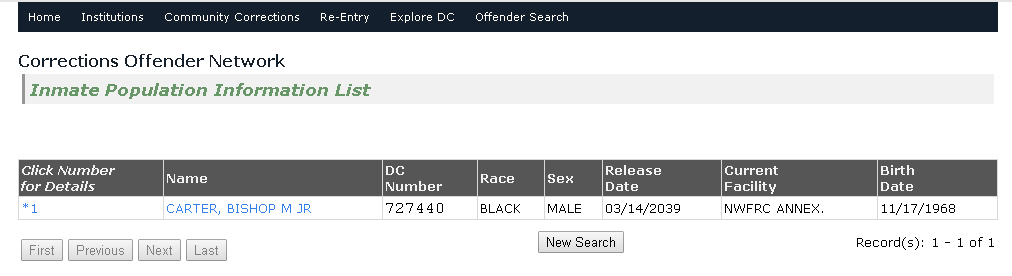 Florida Inmate Search Result Page
