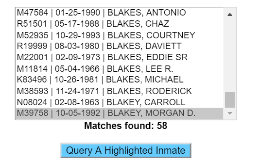 IDOC inmate search results