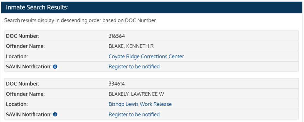 Washington inmate search results page