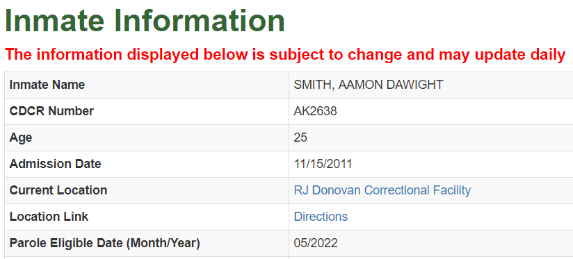 California Inmate Search - CA Department of Corrections