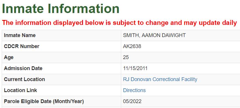 California Inmate Information