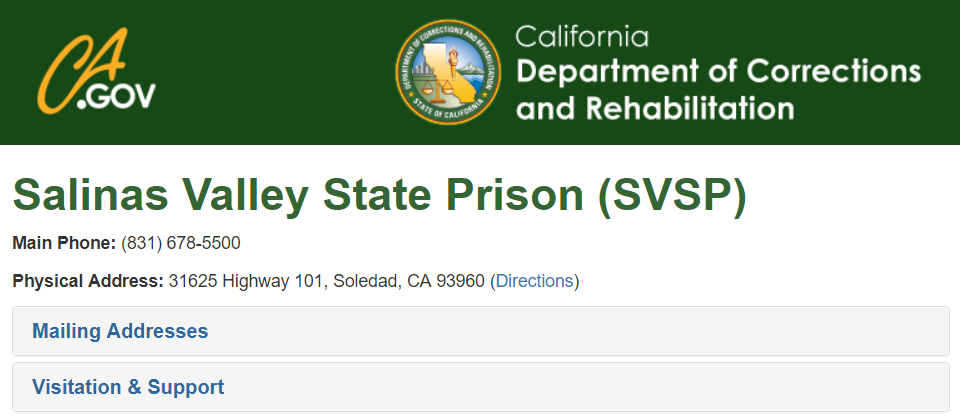 California Inmate Locator - induced info