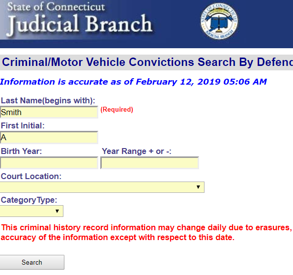 Connecticut Conviction Search