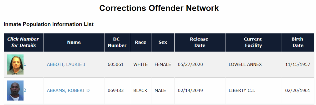 Florida Inmate Search - FL Department of Corrections Inmate