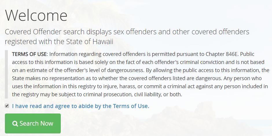 Hawaii Criminal Sex Offender