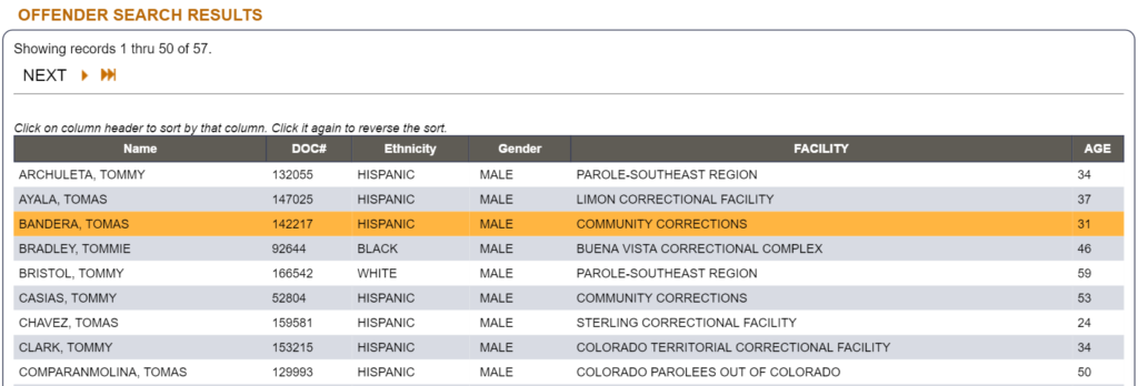Colorado offender search page