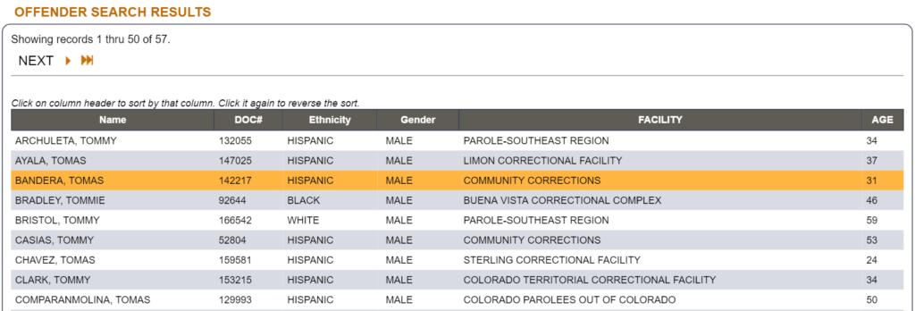 Colorado offender search page
