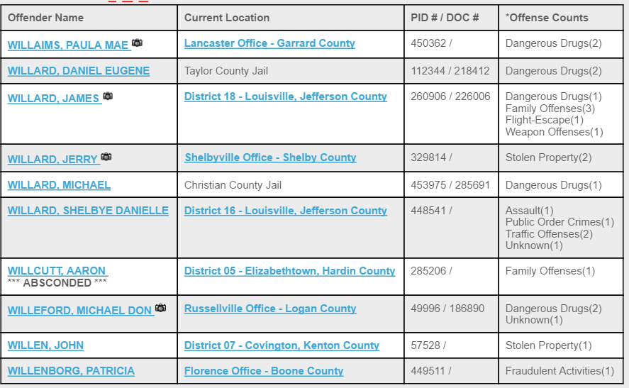Kentucky inmate search result page