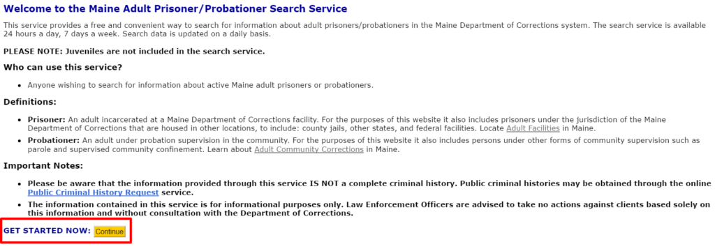 maine inmate search service