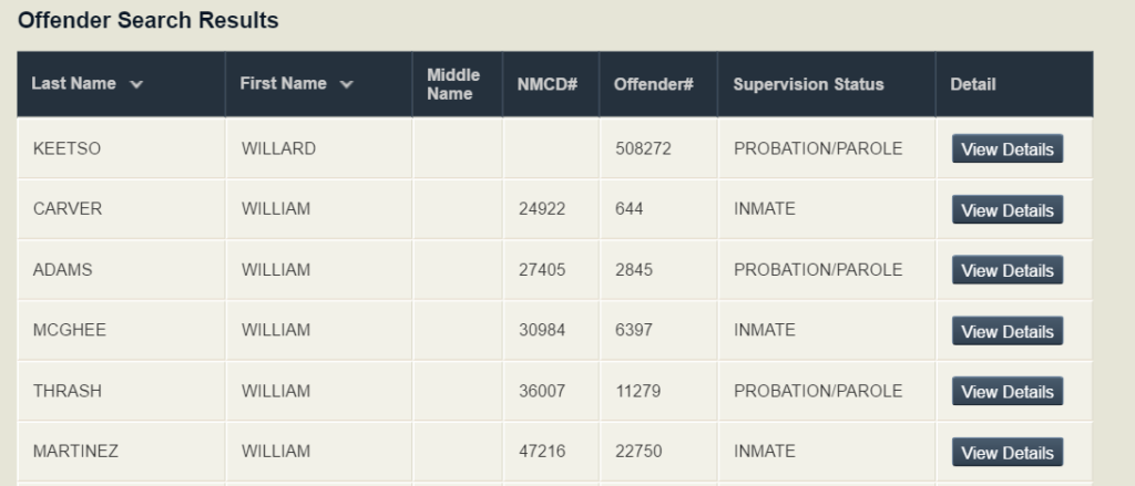 new mexico offender search result page