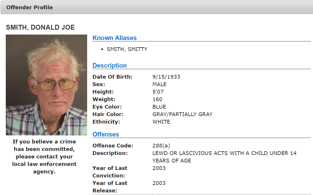 California Sex Offender Profile
