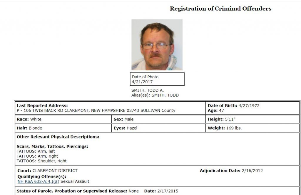 New Hampshire Sex Offender Details