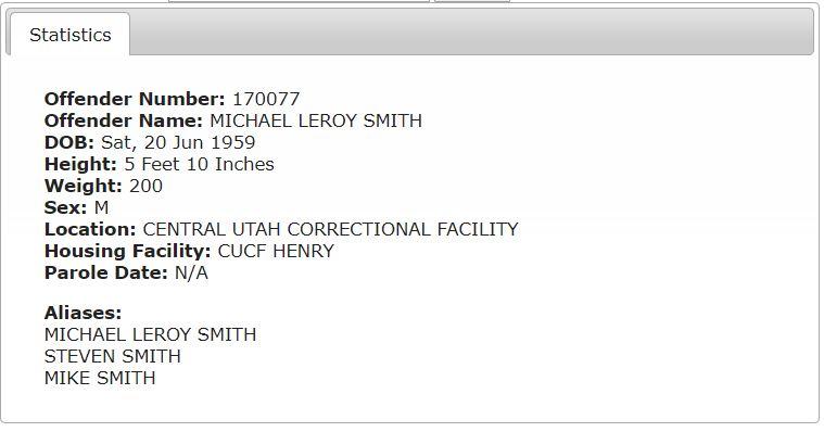 Utah Prisoner Details