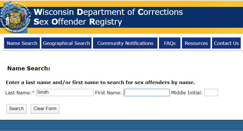 Wisconsin Sex Offender Search