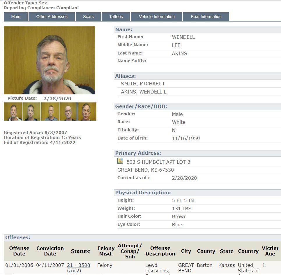 Kansas Sex Offender Info