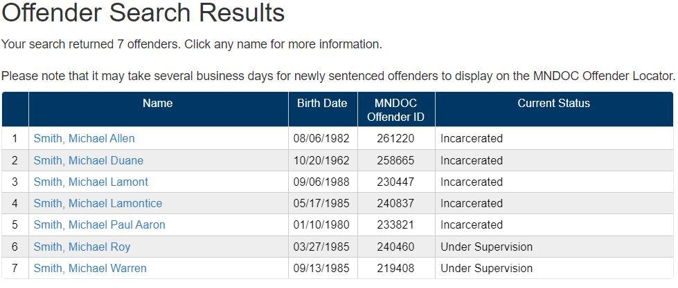 Minnesota Inmate Info