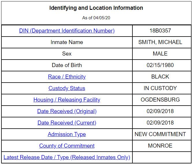 NY Inmate Details