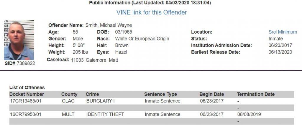 Oregon Inmate Details
