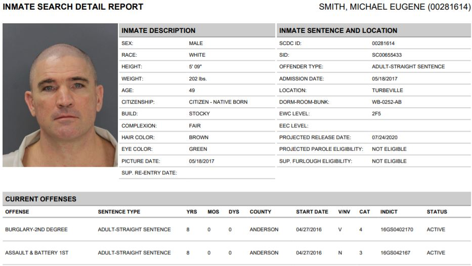 South Carolina Inmate Search Report