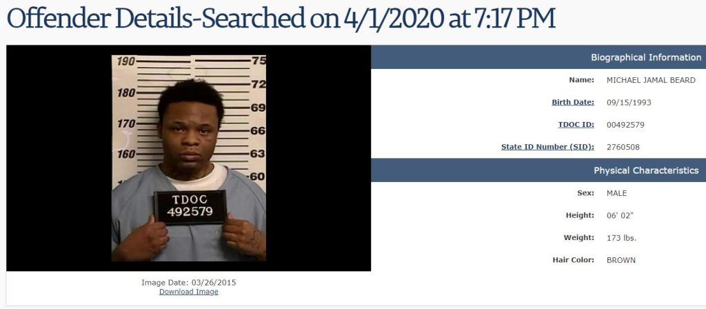 Tennessee Offender Search Results