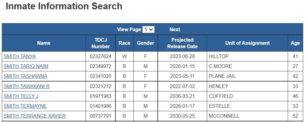 Texas Offender Search Results